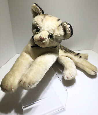 Vintage Steiff tabby cat plush toy doll stuffed animal Glass Eyes