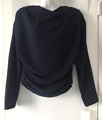 NWT ZARA Woman Navy Blue DRAPED TOP Gathered Detail Long Sleeve Size M O2040