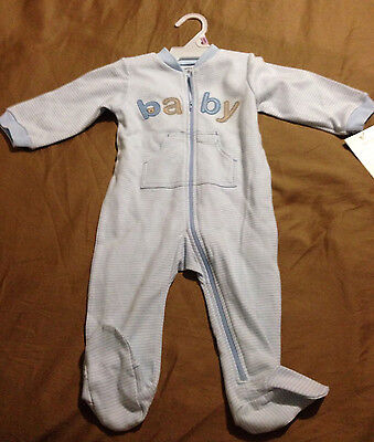 NWT CARTER'S BABY BOY'S OUTFIT LIGHT BLUE & WHTE STRIPES SLEEP & PLAY, SZ 9 MOS