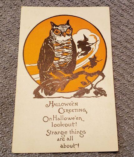 Vintage Halloween Postcard - Owl 1920