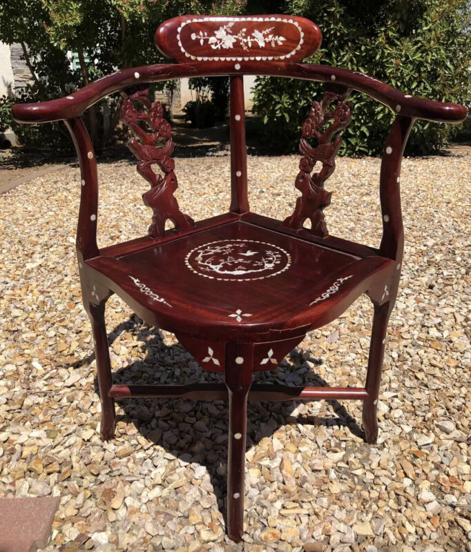 Vintage Asian Arm / Corner Chair Mother Of Pearl Inlay