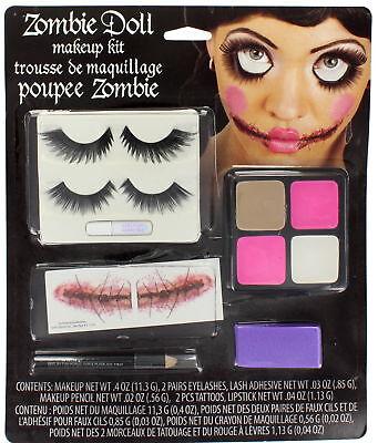 Fun World Halloween Zombie Doll Makeup Kit with Eyelashes NEW!  (Halloween Doll Body Makeup)
