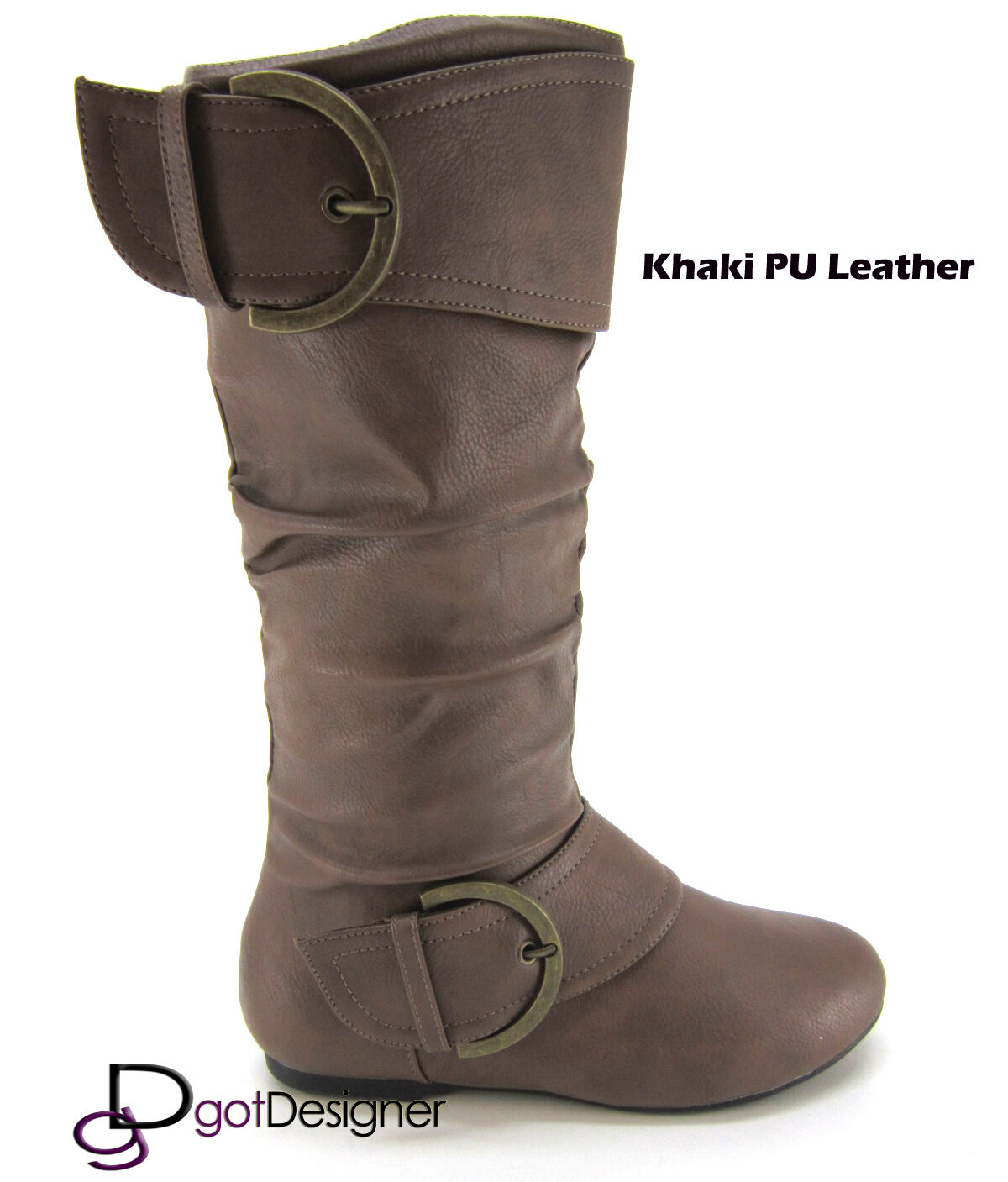 NEW Womens Shoes Knee High Mid Calf Round Toe Slouch Comfort Casual Boots Flat