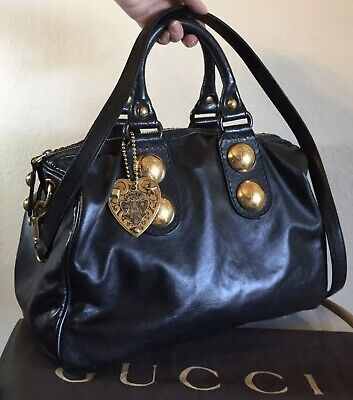Gucci Black Leather Babouska Boston Handbag Heart Knight 2 Way Shoulder Tote Bag