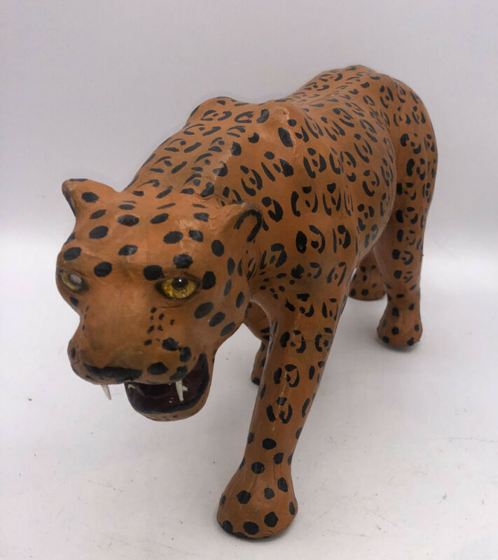 """16 """" Leather wrapped Cheetah Statue  Tigers Jungle"""