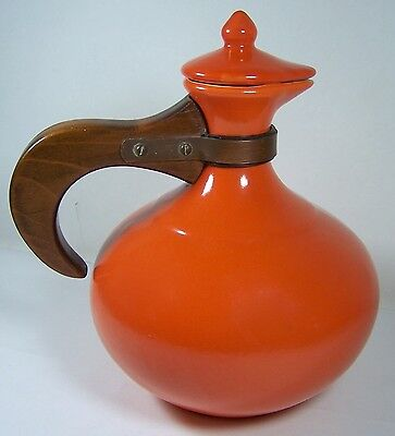 VINTAGE GLADDING MCBEAN EL PATIO CARAFE WOOD HANDLE WITH LID CALIFORNIA POTTERY