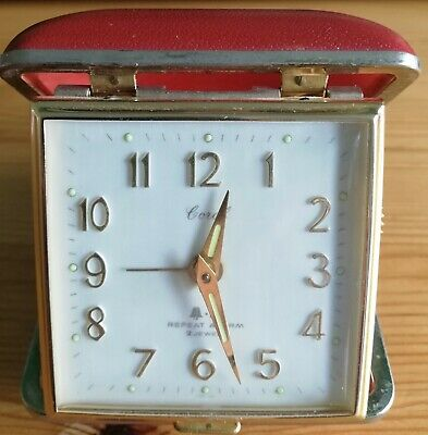 Vintage Coral Compact Travel Alarm Clock Wind-Up. Red case. Lovely piece.