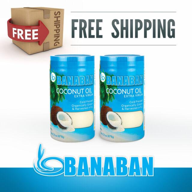 BANABAN Organic Fiji grown Virgin Coconut Oil 2 x 1 Litre - FREE SHIPPING