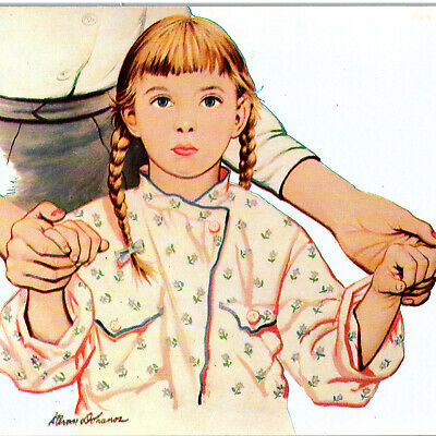 Vintage 1940s Give To United Way Charity Advertising Girl Pajama Postcard