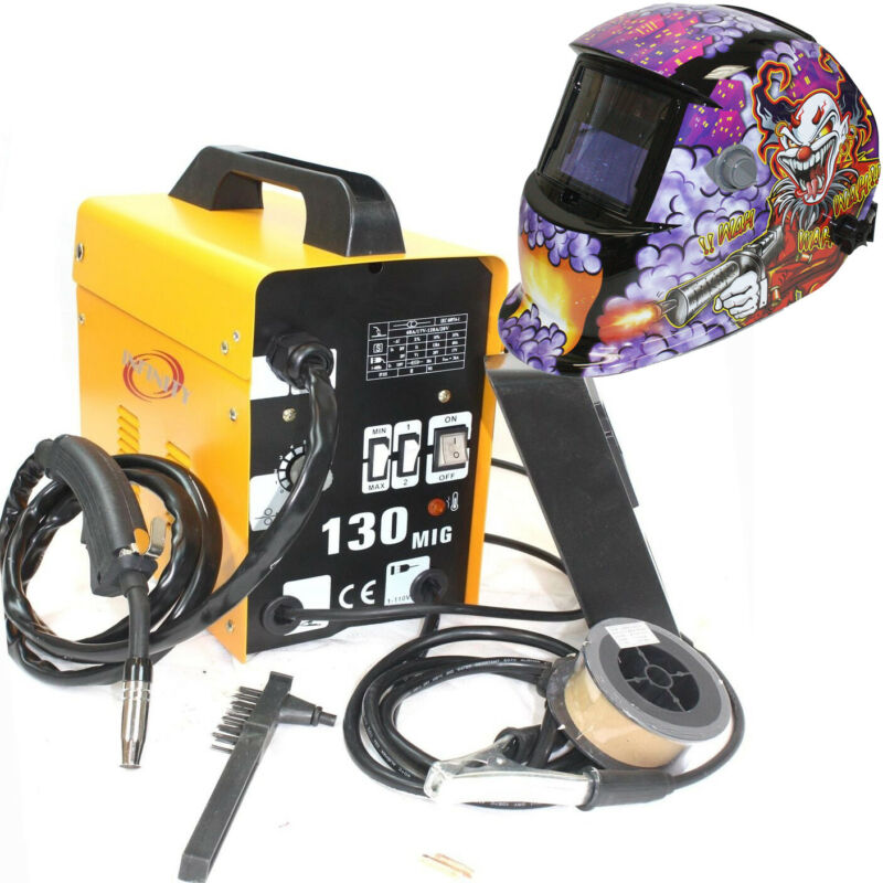 MIG-130 Flux Core Auto Wire Welder Machine w/Cooling & US Joker Welding Helmet