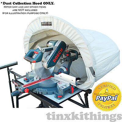 Dust Collection Hood For Miter Table Saw Wood Work Shop Vacuum System Accessory