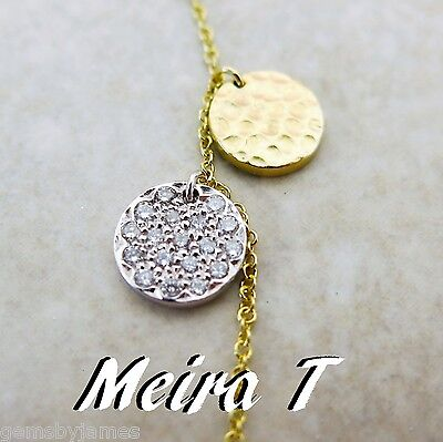 Meira T Necklace 14K Solid Gold Natural Diamond Modernist Pendant 16 L W Pouch
