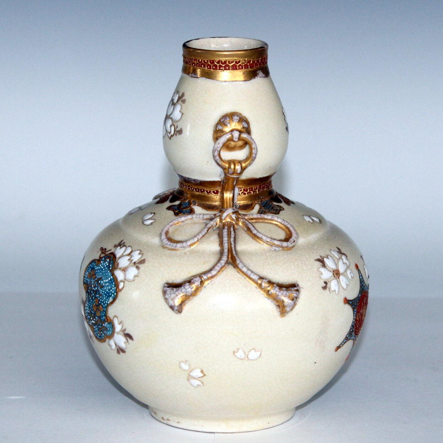 Antique Japanese Signed Satsuma Studio Double Gourd Rope Handle Vase Ebay