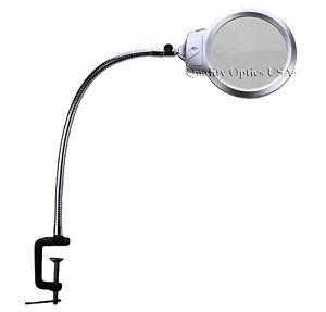 desk mount magnifying glass magnifier led light usa xl metal clamp. Black Bedroom Furniture Sets. Home Design Ideas