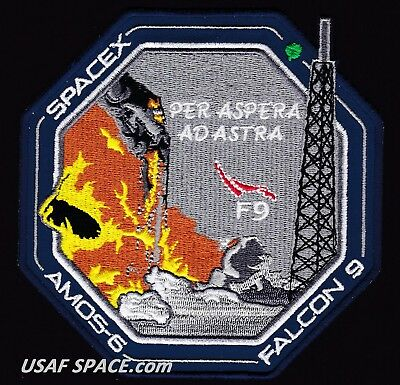 AMOS-6 - SPACEX FALCON-9 SATELLITE Launch FIRE - A BETTER REPRO TRIBUTE PATCH