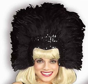 black feather showgirl headpiece headdress las vegas dancer costume accessory