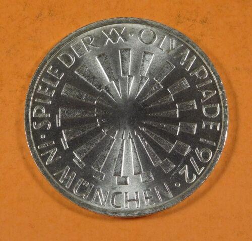 1972 GERMANY 10 MARK COIN - SILVER - Munich Spiral symbol