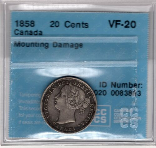 1858 Canada 20 Cent - Mounting Damage - CCCS - Very Fine Twenty