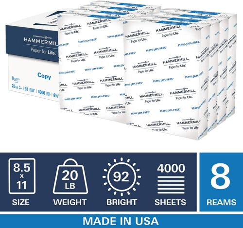 Hammermill 8.5x11 inch Copy Paper, 500 Sheets, 8 Ream (4,000 Total)