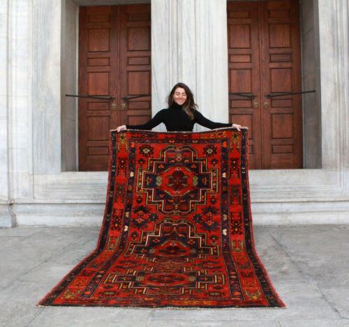Antique Handmade Vintage Armenian Kazakh Ethnic Tribal Carpet Area Rug8