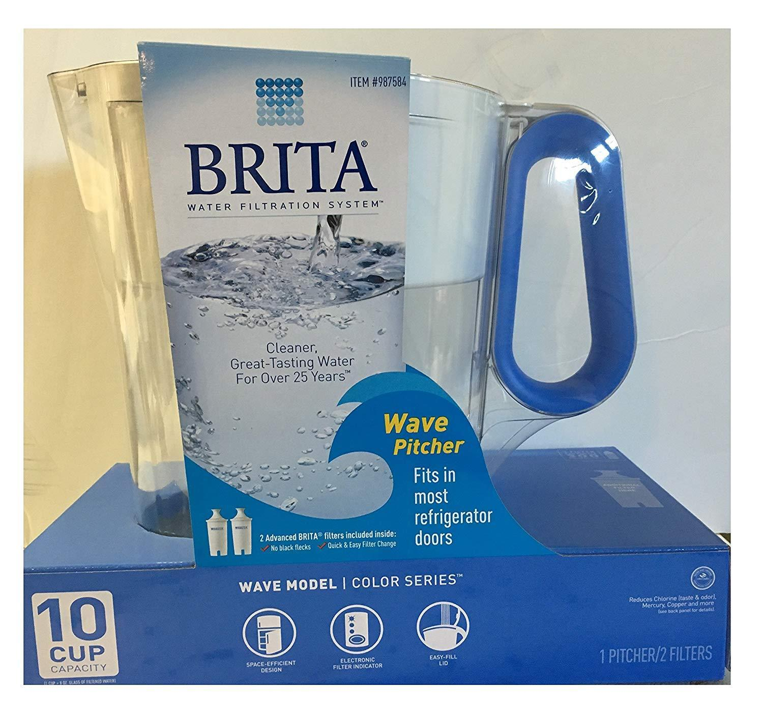 Brita Wave Filtered Water Filter Pitcher 10 Cup Capacity Inc