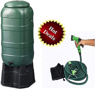 COMBO of One 100L Water Butt/Barrel and One Green Expandable Magic Hose Pipe