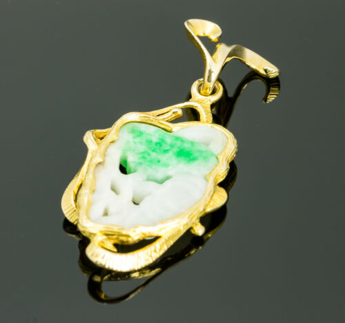 Vintage 18K Yellow Gold Jade Pendant