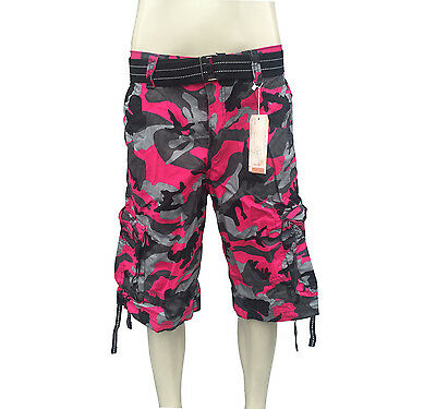 Men's Focus Army Camo Cargo Shorts, Available in 12 Colors Sizes 30 to 44