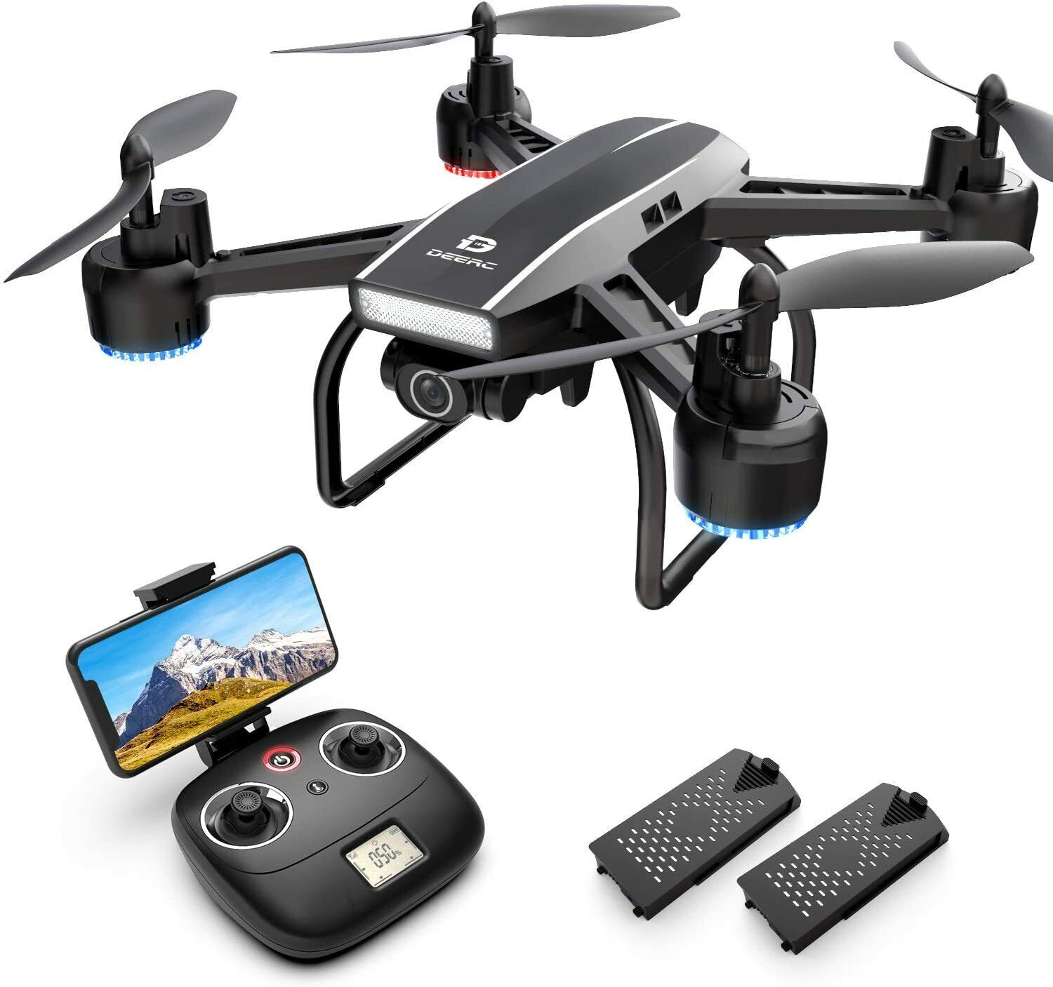 Holy Stone D50 2.4G FPV Drone 2K HD Video Camera RC Quadcopter with 2 Batteries
