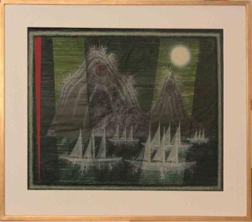 Listed American Artist Edward John Stevens Jr, Mixed Media Signed, 1973