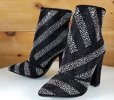 Black Chunky High Heel (CR Black Iridescent Rhinestone Chunky High Heel Ankle Boot Us Sizes)