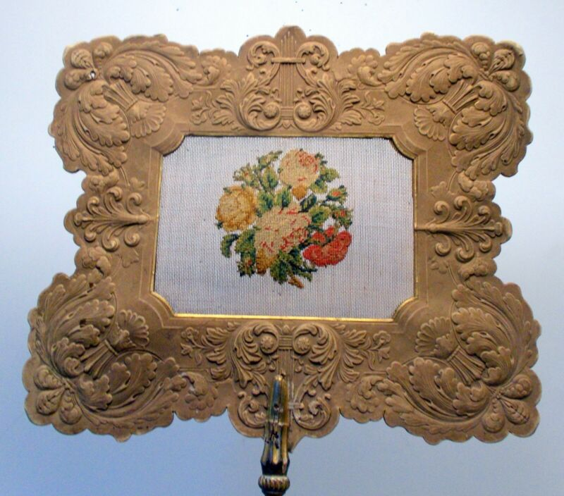 RARE Antique Victorian FAN PETIT POINT NEEDLEPOINT Flowers Rococo French