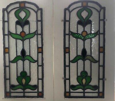 PAIR STAINED GLASS WINDOW PANELS ANTIQUE PERIOD ART DECO 20s 30s (77cm x 32cm)