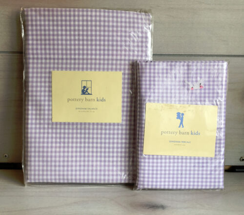 B7 Pottery Barn Kids Lavender Gingham Window Valance & Percale Nursery Curtains