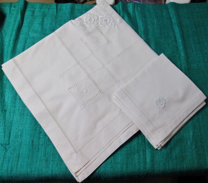 Antique Linen Tablecloth & 5 Napkin Set Embroidered Florals Drawnwork Hemstitch