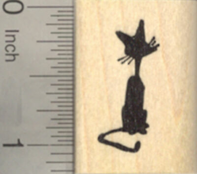 Cat Rubber Stamp, in Silhouette, Halloween or Scene A22306 WM - Halloween Cat Silhouette