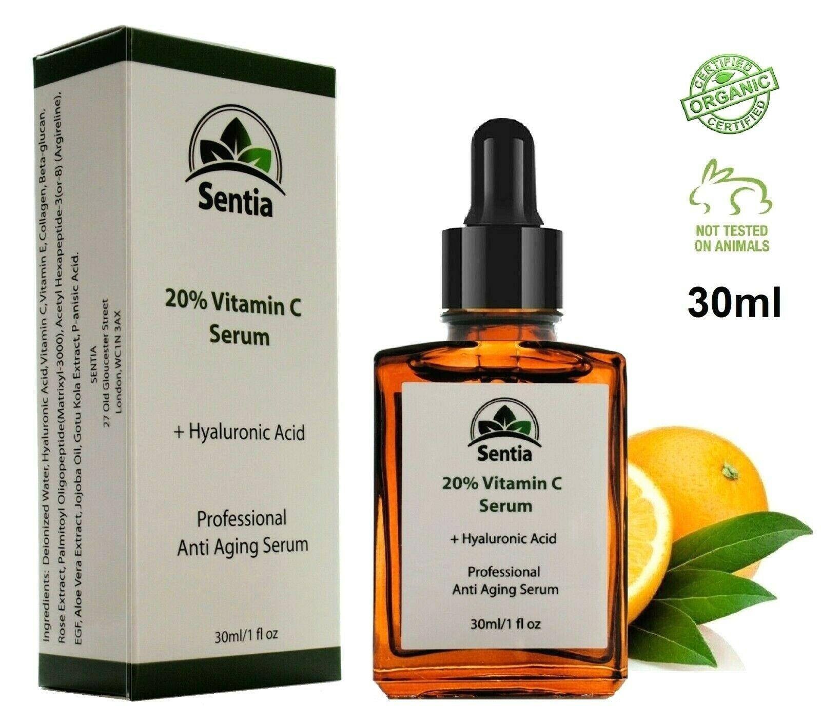 Vitamin C Serum face cream + Collagen + Hyaluronic. Best Anti Aging Ageing 30ml.