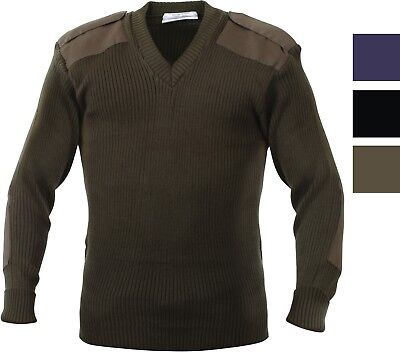 V Neck Acrylic Uniform Sweater Military Commando Army Epaulets Thick Warm Winter (Acrylic Sweaters)
