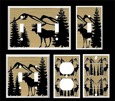 Moose Light Switch Cover (MOOSE SILHOUETTE  PINE TREE LIGHT SWITCH COVER PLATE  U PICK  PLATE SIZE )