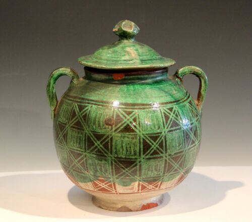Vintage Mexican Pottery Patamban Michoacan Green Cookie Biscuit Pot Covered Jar