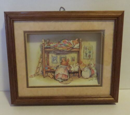 Vintage 3-D Shadow Box Mouse Family Bedtime Framed Picture Michiko