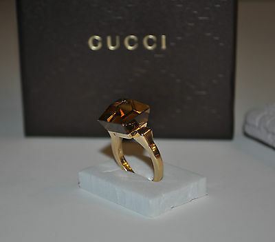 GUCCI Smokey Quartz 18K Yellow Gold Chiodo Cocktail Ring Size IT 16 / US 7.5 - 8