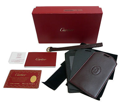 Authentic Cartier Name tag Travel Keychain Bordeaux Leather #7596