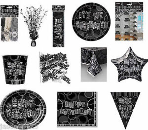 Black and Silver Glitz Birthday Party Decorations Tableware 13-80 All Occasions