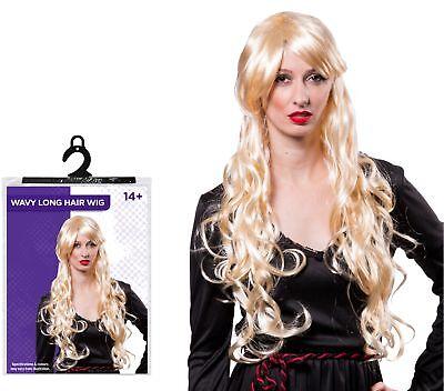 Halloween-kostüme Blonde Haare (Halloween Damen Party Kostüm Wllig Lang Blond Haar Perücke Zubehör)