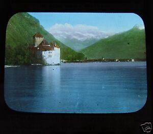 Glass-Magic-lantern-slide-CHILLION-CASTLE-THE-DENT-DU-MIDI-C1890-SWITZERLAND