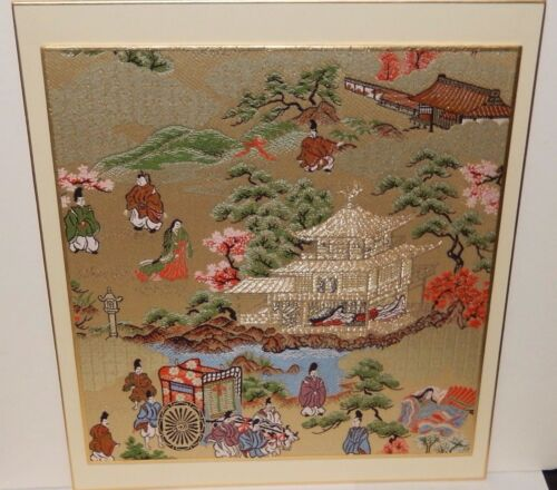 """KYONISHIKI """"GION JIDAU AND AOI FESTIVALS"""" SILK EMBROIDERED TAPESTRY UNSIGNED"""