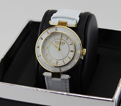 NEW AUTHENTIC VERSUS BY VERSACE LOGO GOLD WHITE LEATHER WOMEN'S SP8150015 (White Versace Logo)