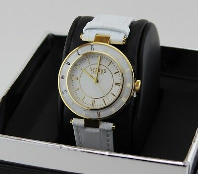 NEW AUTHENTIC VERSUS BY VERSACE LOGO GOLD WHITE LEATHER WOMEN'S SP8150015 WATCH