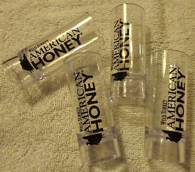 Set of 4 Wild Turkey American Honey...Top of Bottle Shot Glasses...Plastic...NEW